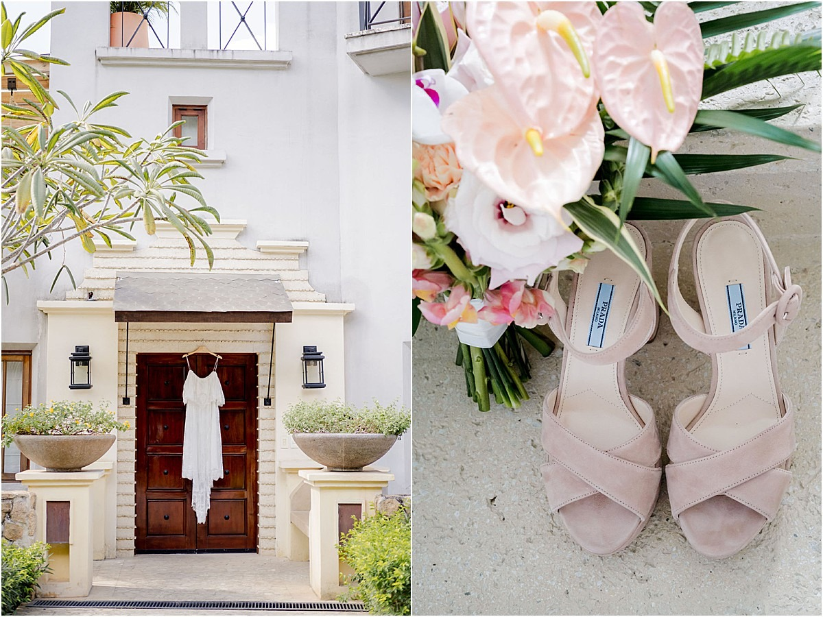 morning with the bride attire prada shoes gown villa