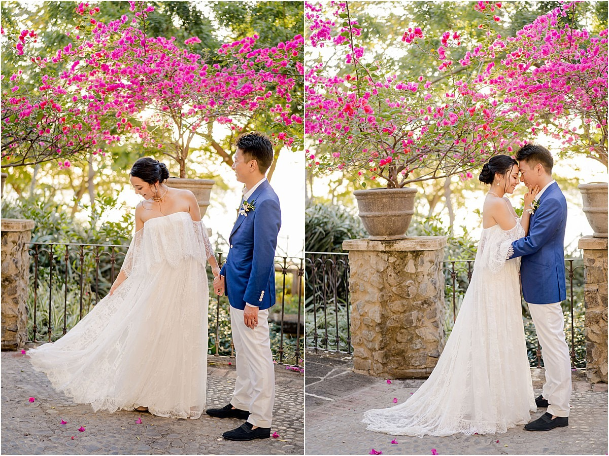 pink bright florals villa wedding cata
