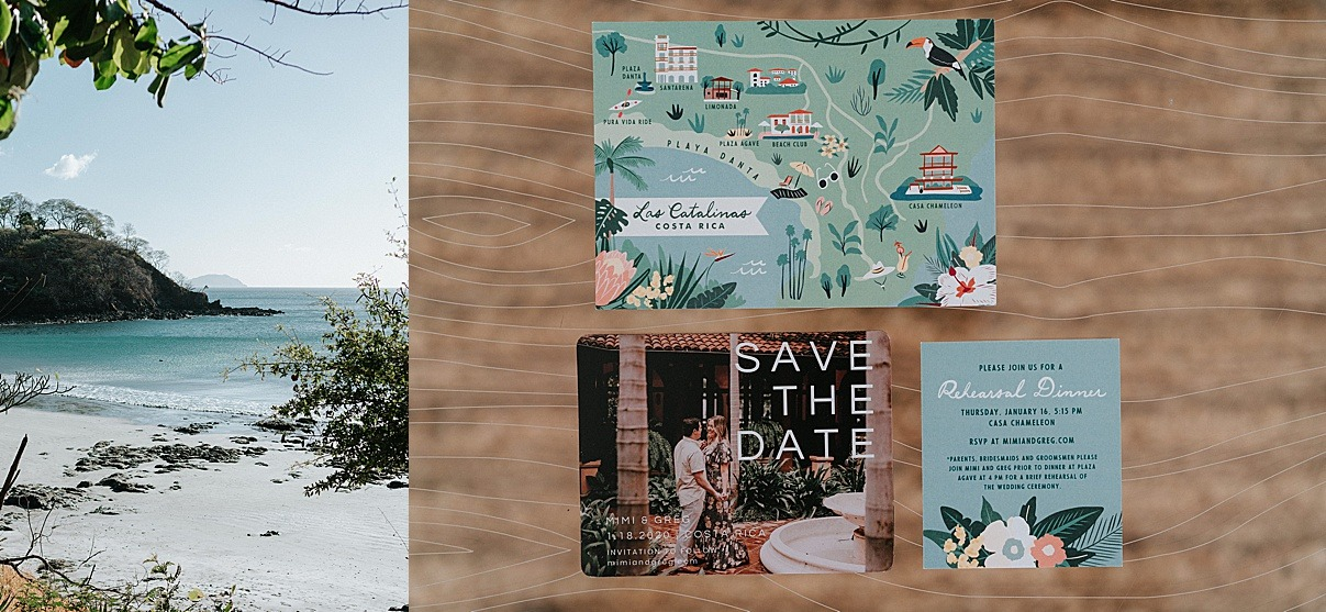 save the dates and beach view from costa rica
