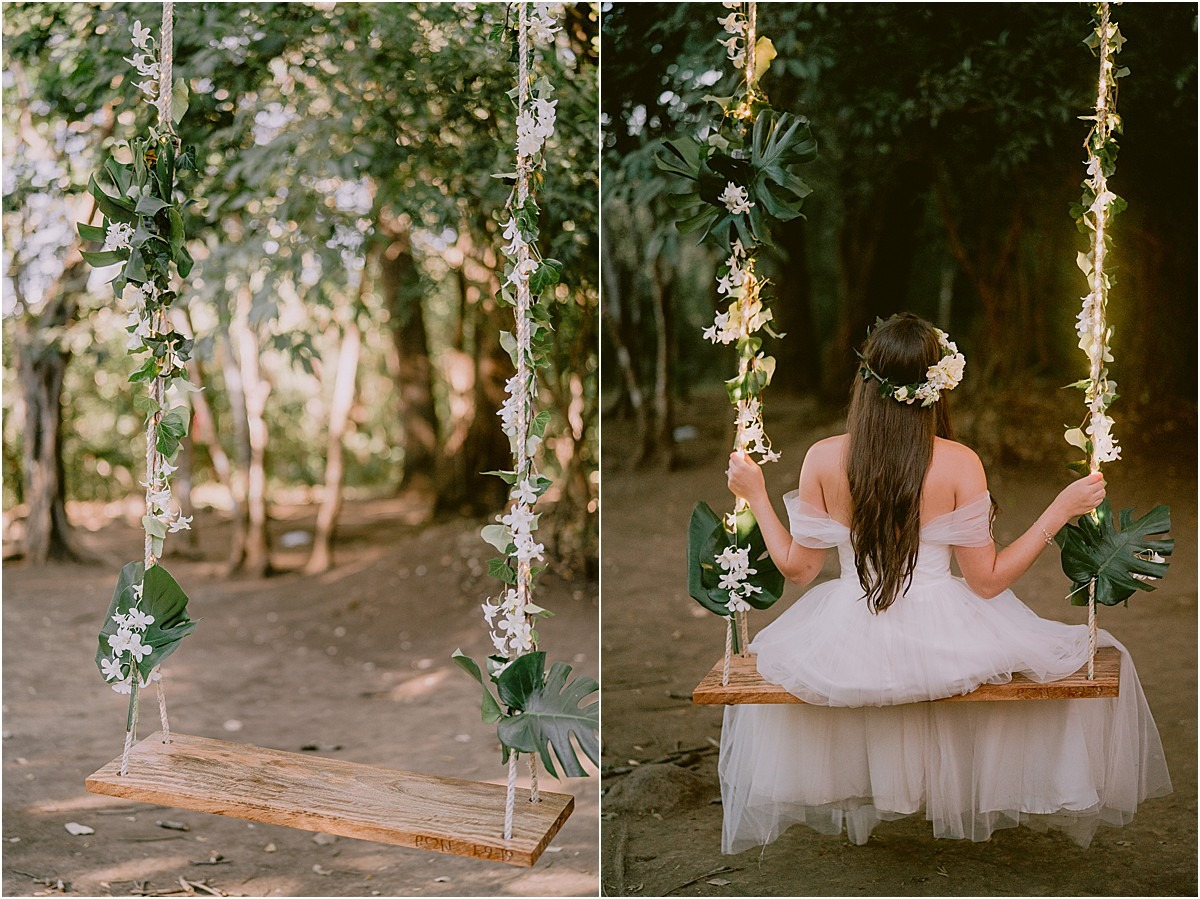 wedding swing in the forest national park