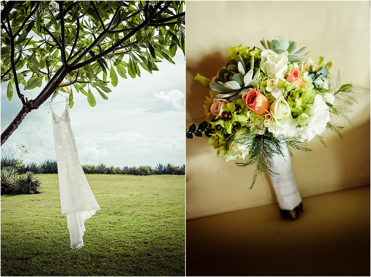 bridal gown and bouqet for eloping in costa rica