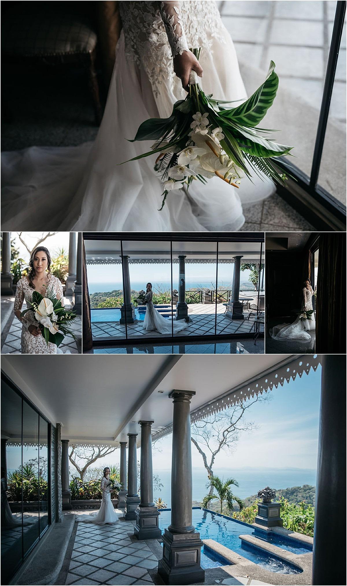 bride ready gown florals villa caletas