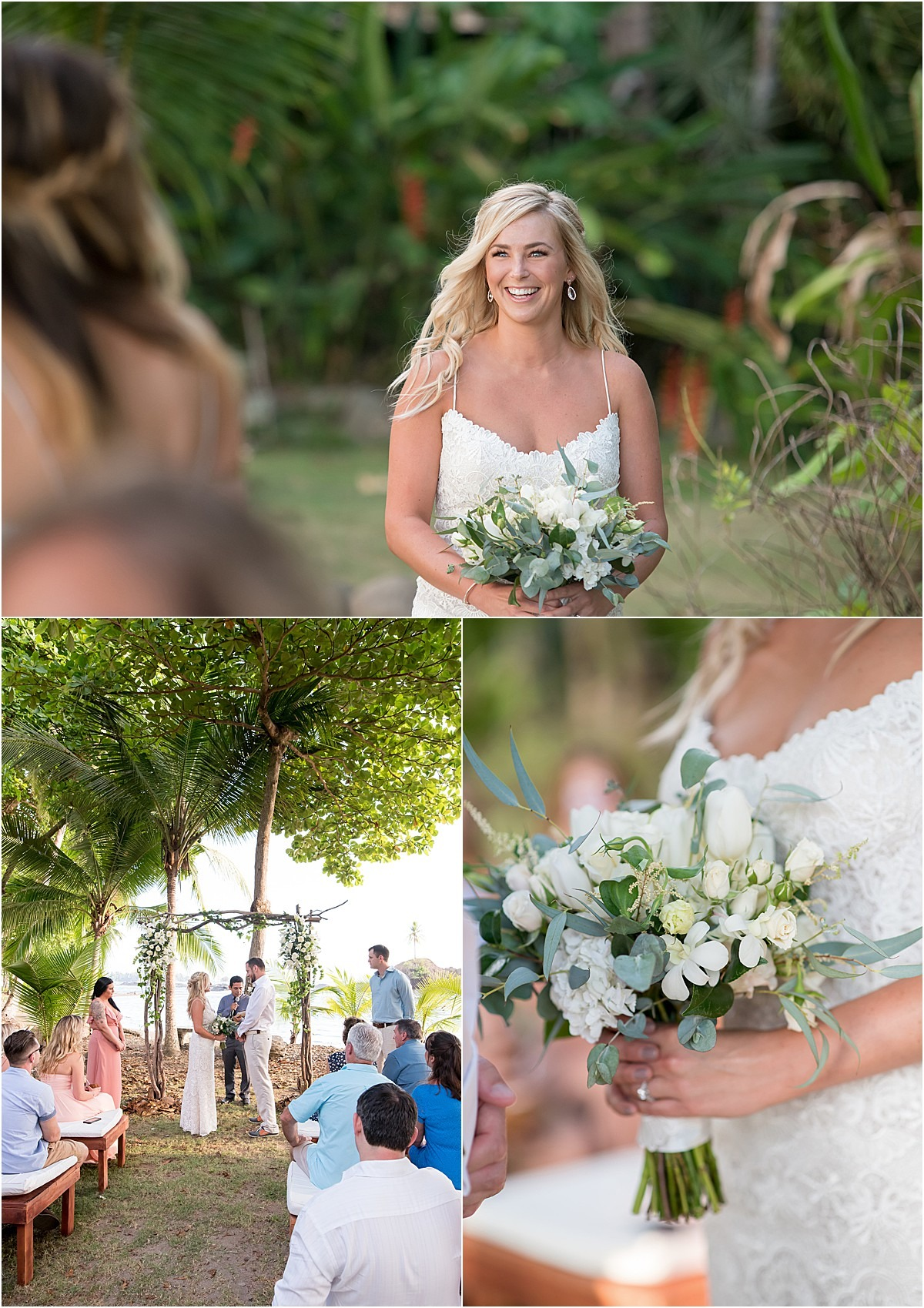 bride walking down asile with florals in south costa rica
