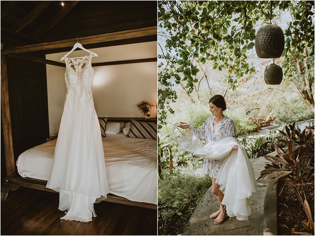 bride with her lace gown in villa
