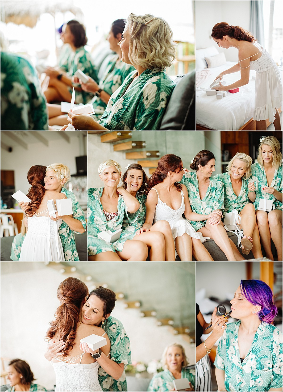 brides first look getting green robes