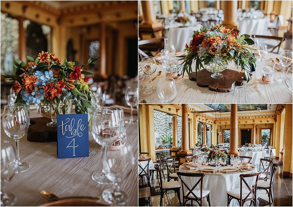 ceremony details table number villa florals