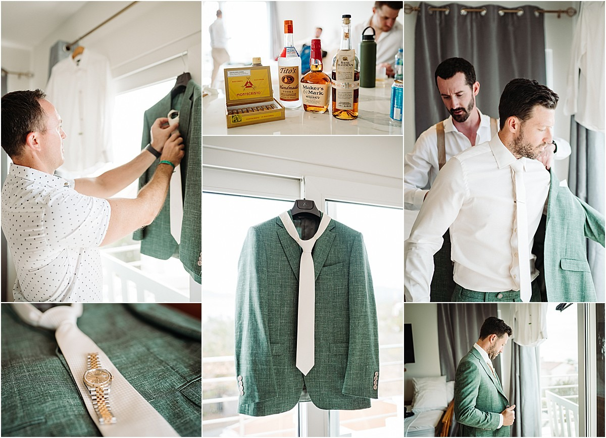 green wedding suit custom style