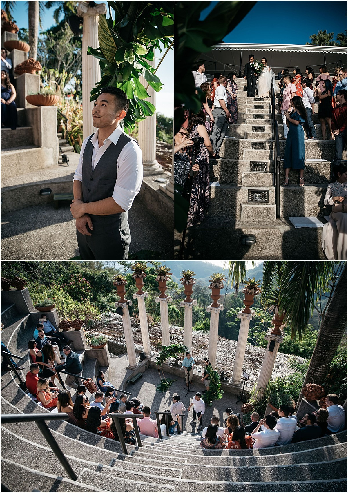 groom looking at bride coming down the stairs ceremony costa