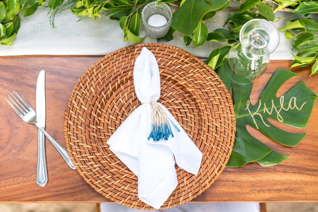Intimate Tropical Wedding Sneak Peek dinner decor