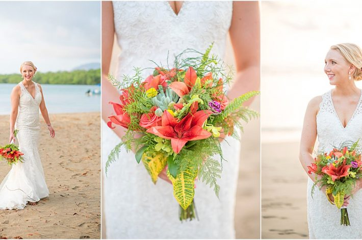bridal bouquet tropical intimate wedding