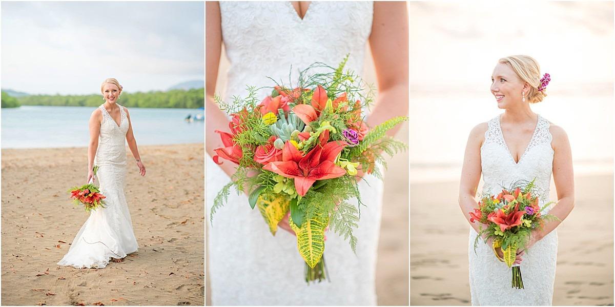 bridal bouquet tropical intimate wedding
