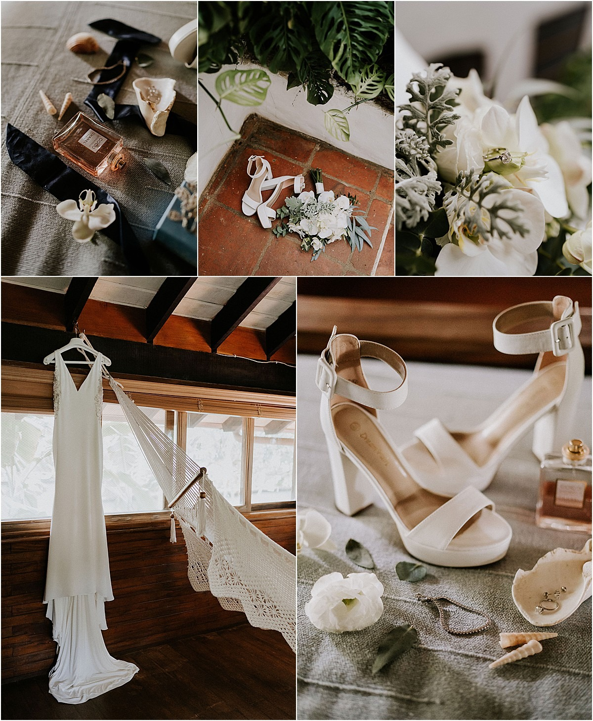 bridal details shoes gown hammock