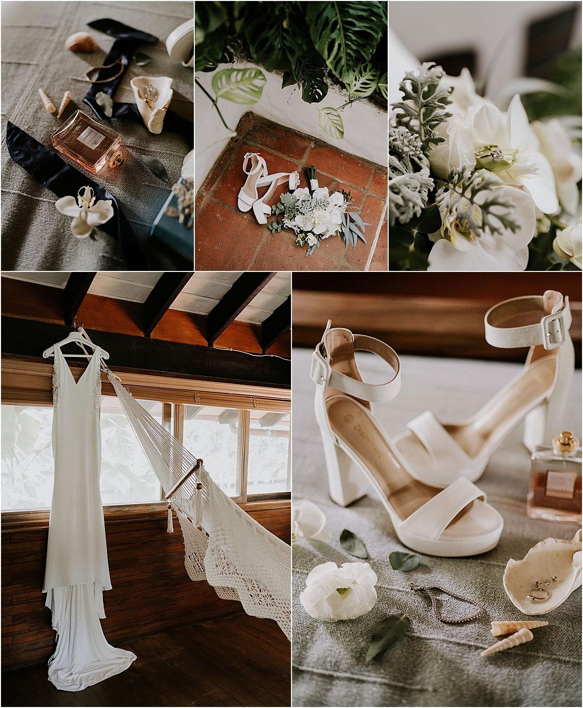 bridal details shoes gown hammock