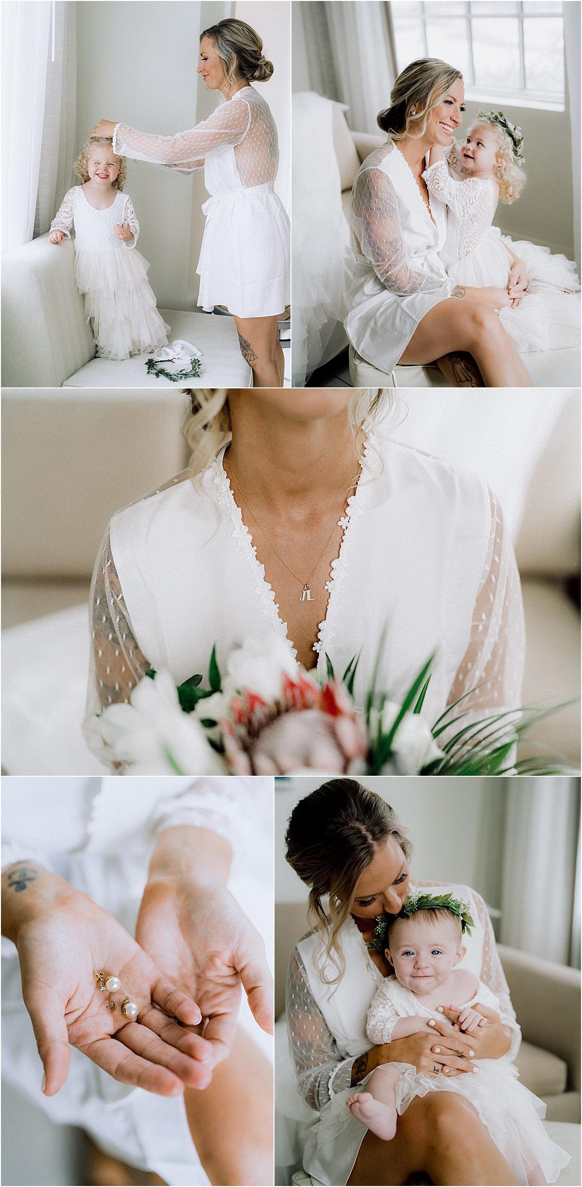 bridal robe white earrings girl