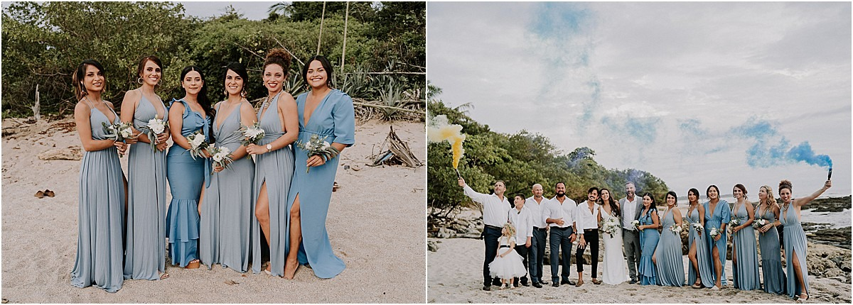 bridesmaids in dusty blue gowns