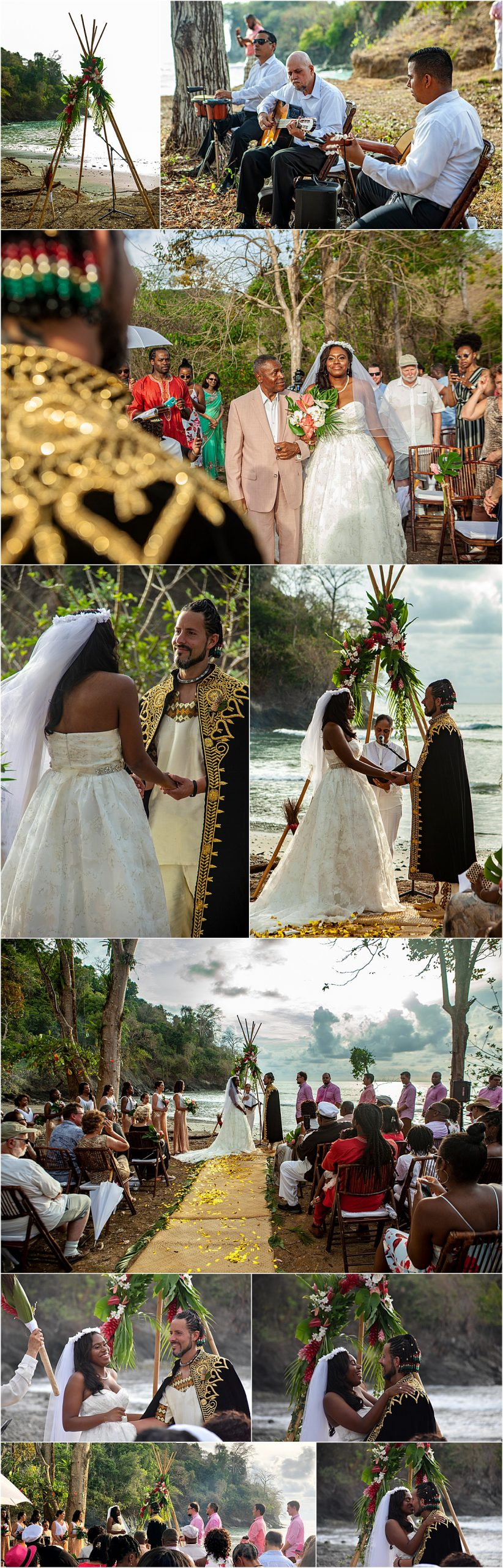 ceremony on a private beach in costa rica playa