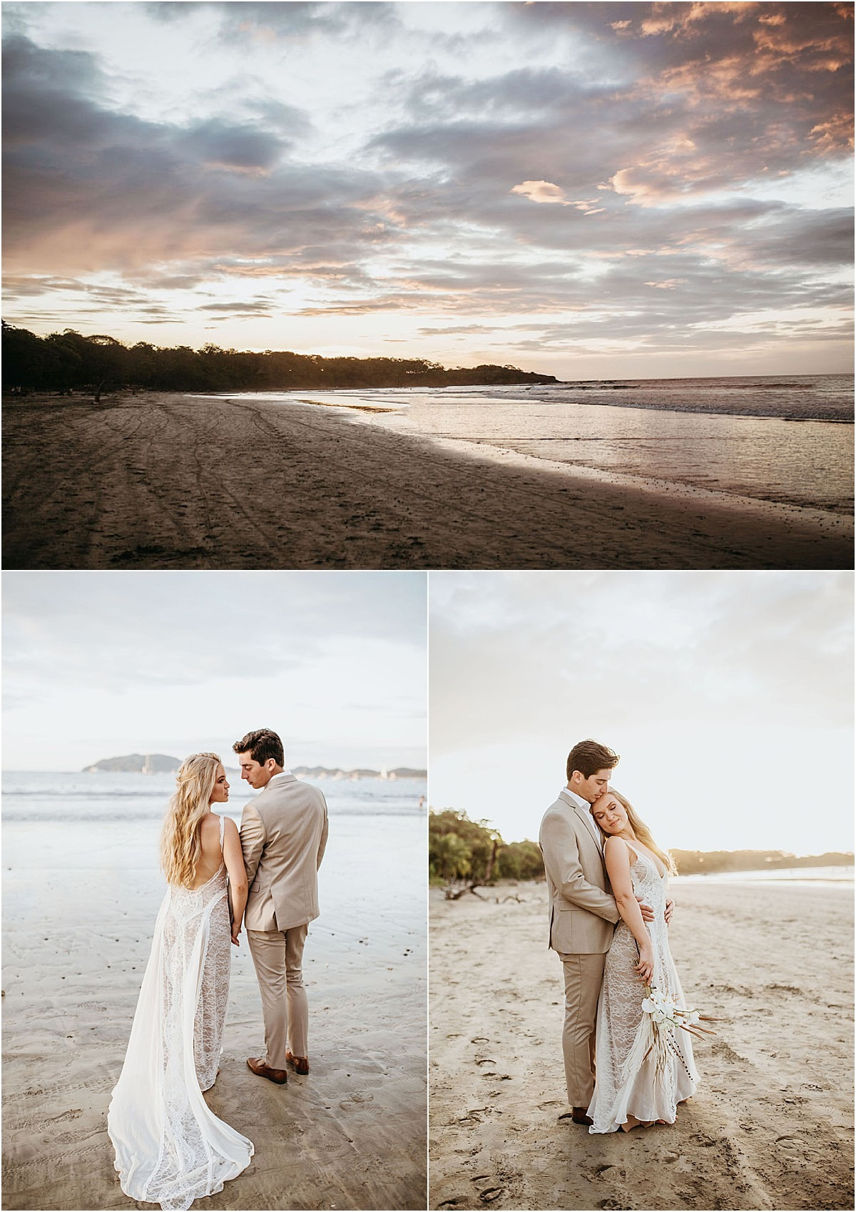 couple at sunset on the beach of langosta