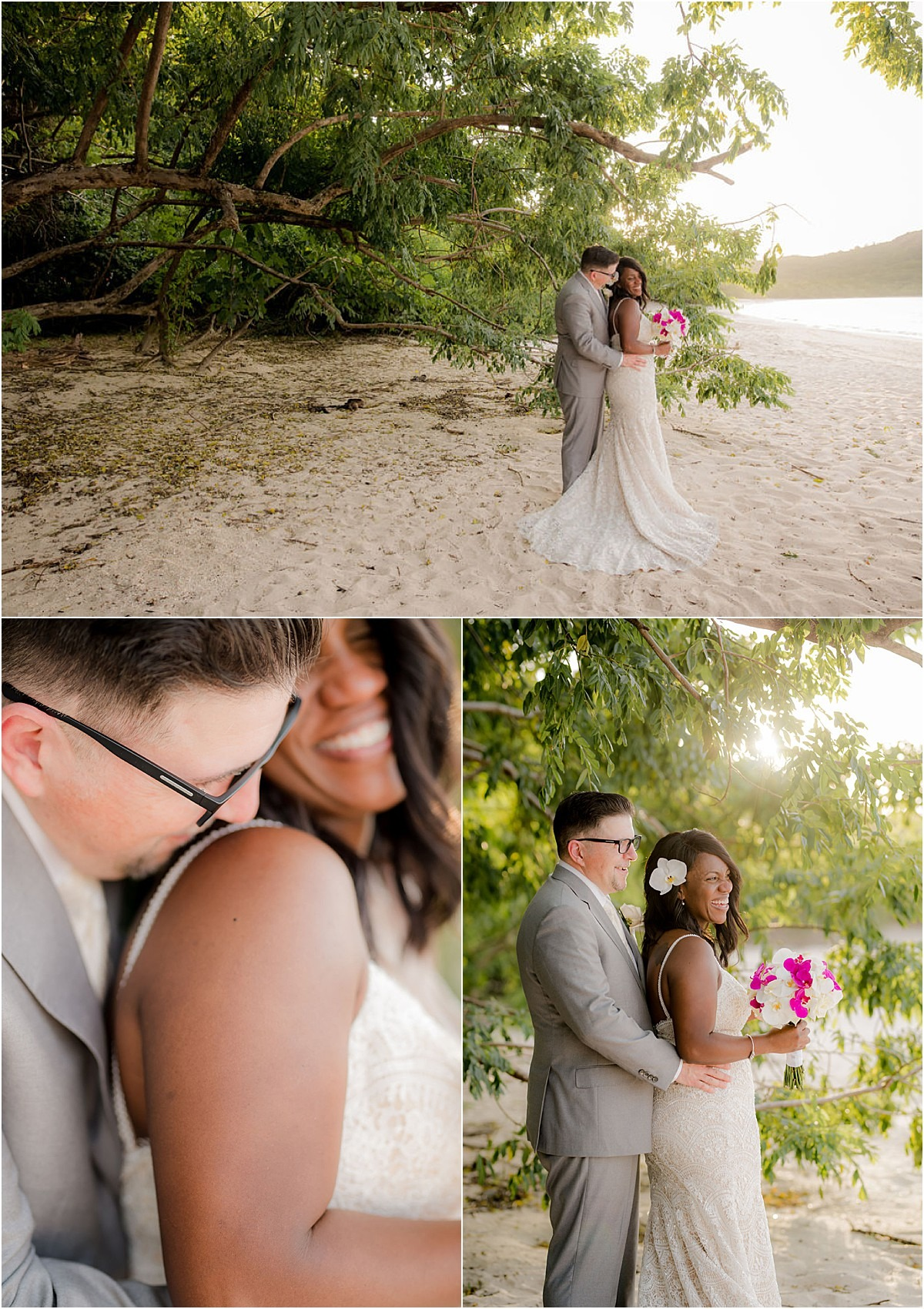 couple in love on the beach glowing bride