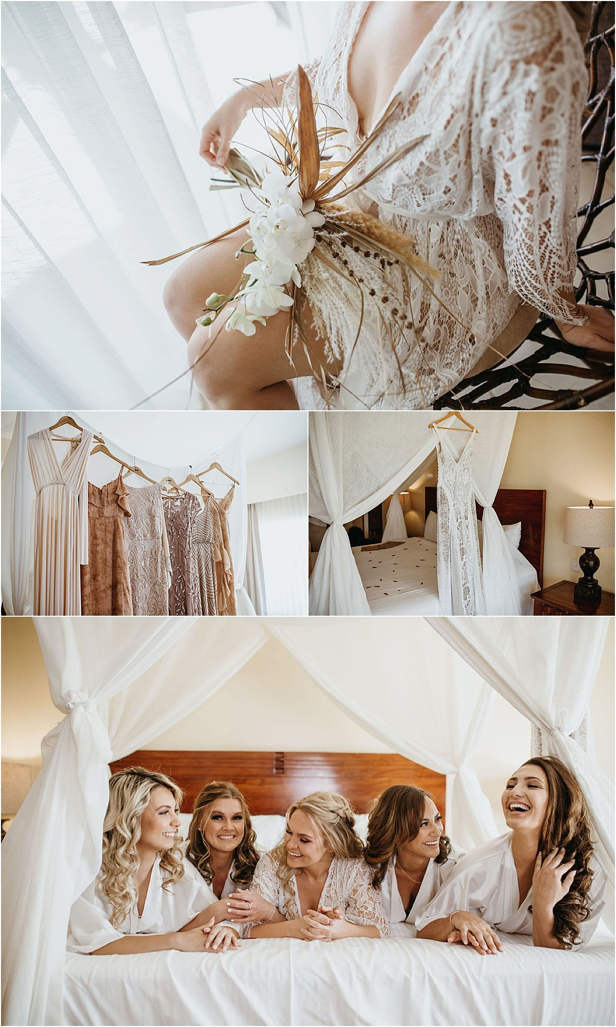 girls in matching robes bride l
