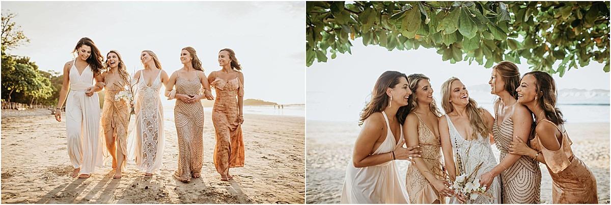 girls laughing beach wed