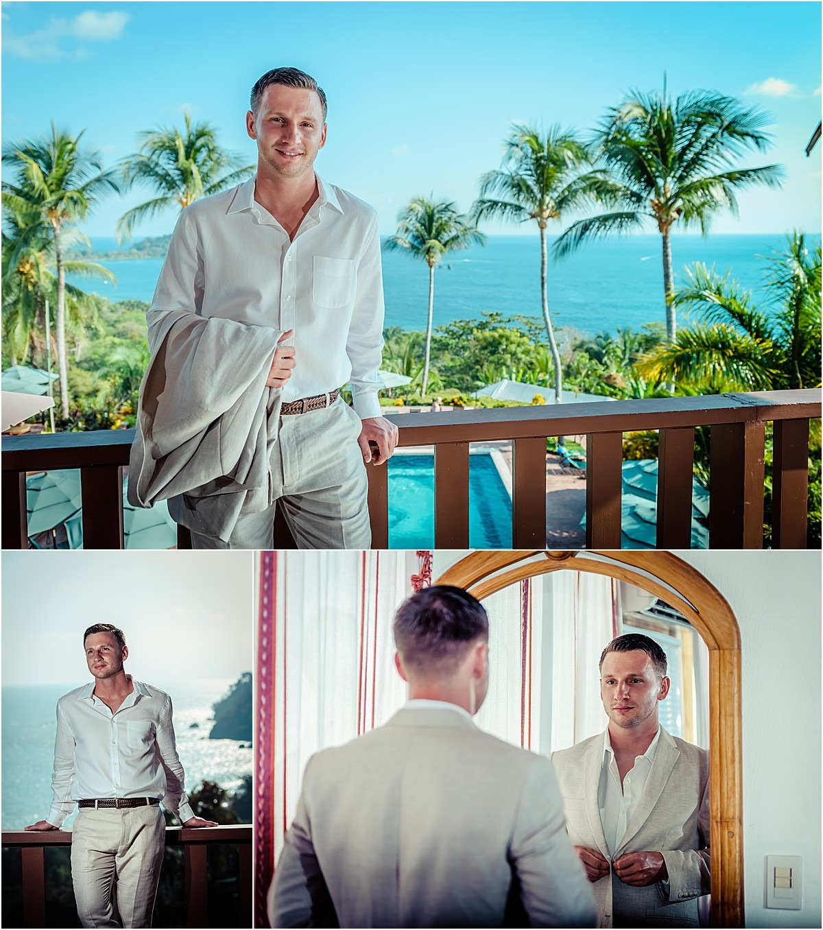 groom getting ready tan suit