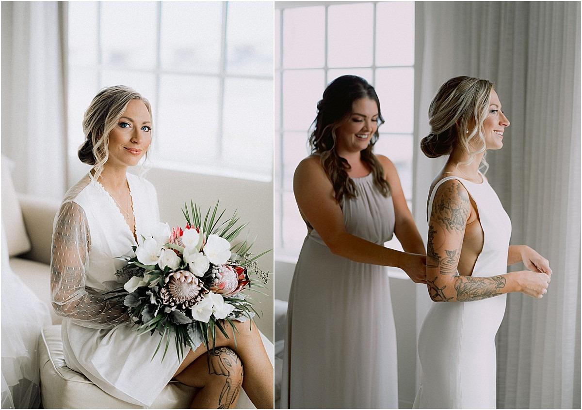 putting on wedding gown florals fl