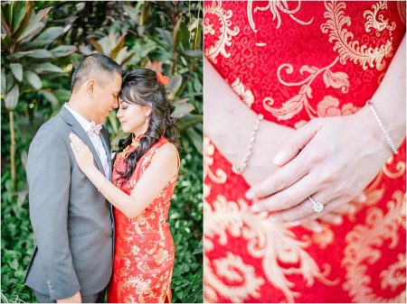 bride wears a red dress qipao