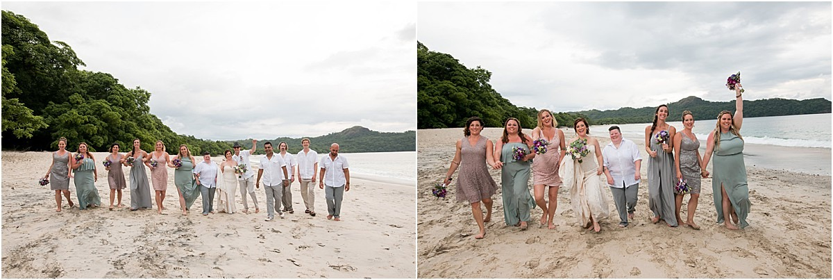 walking on the beach in cr wedding party
