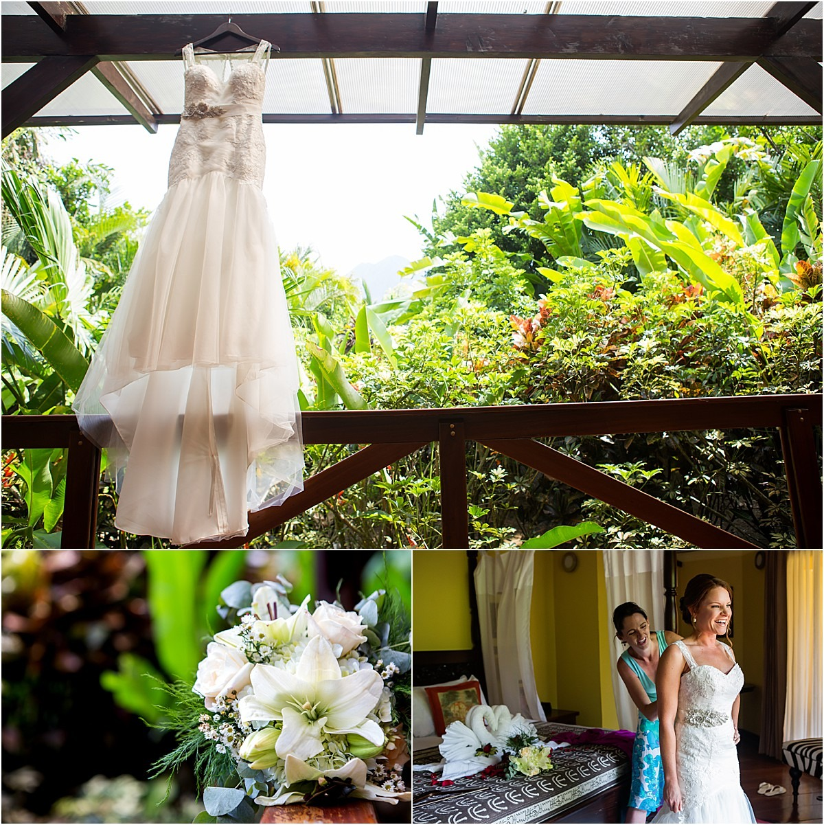 wedding dress florals la fortuna elopement