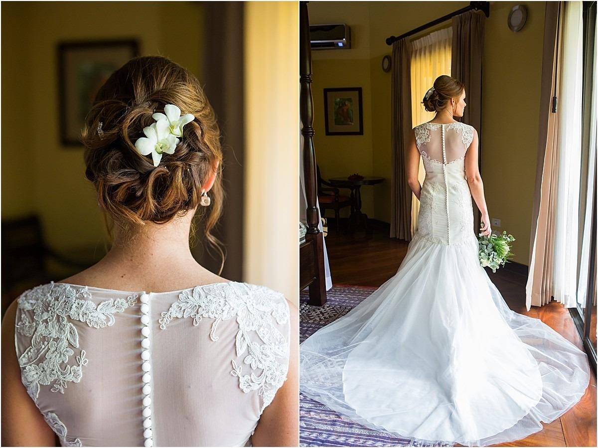 wedding gown details elopement white flowers
