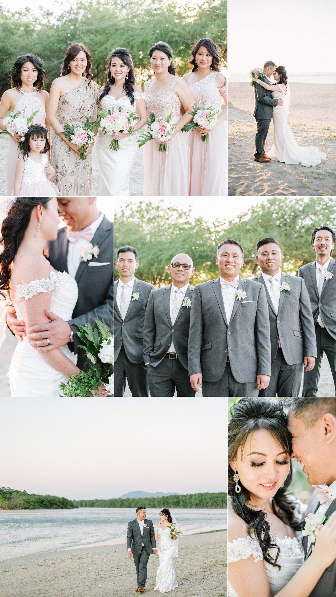 wedding party groomsmen in grey bridesmaid in blush