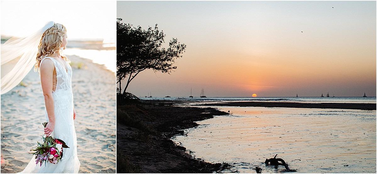 bride at sunset on playa tamarindo by pangas