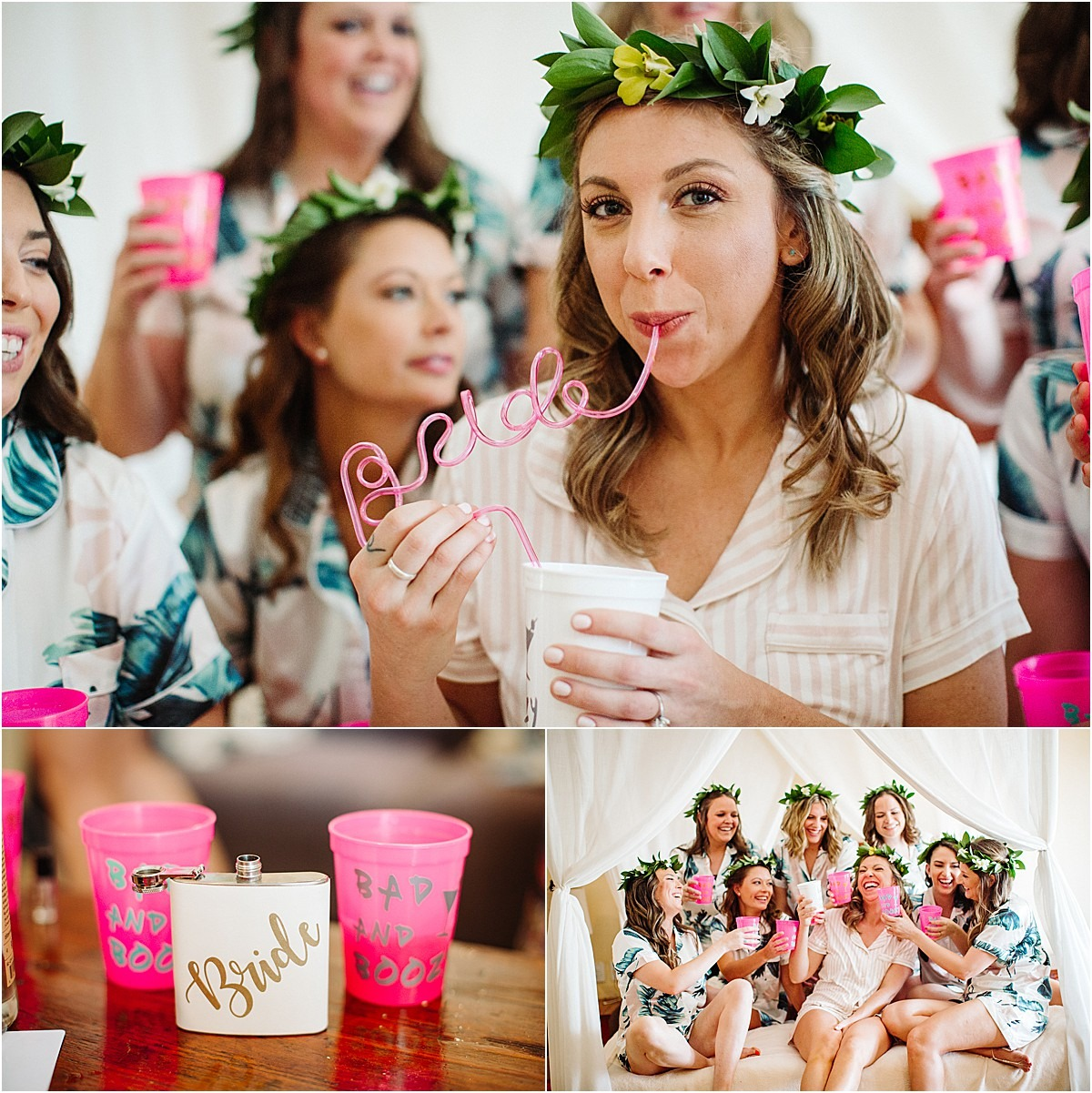bride custom straw and cups