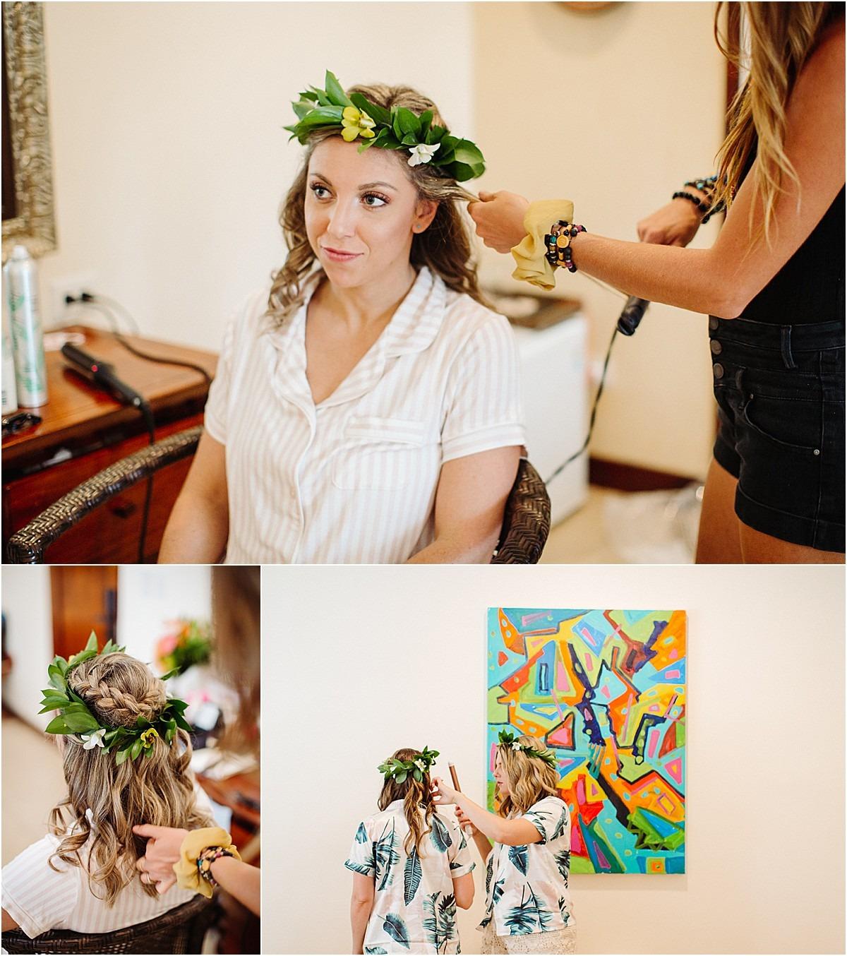 bride getting ready in the diria
