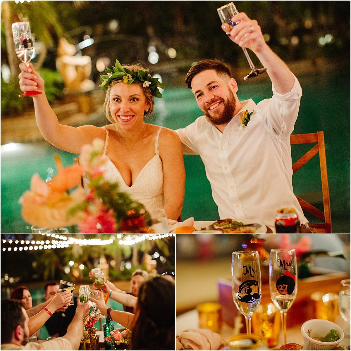cheers and custom champange glass for a wedding