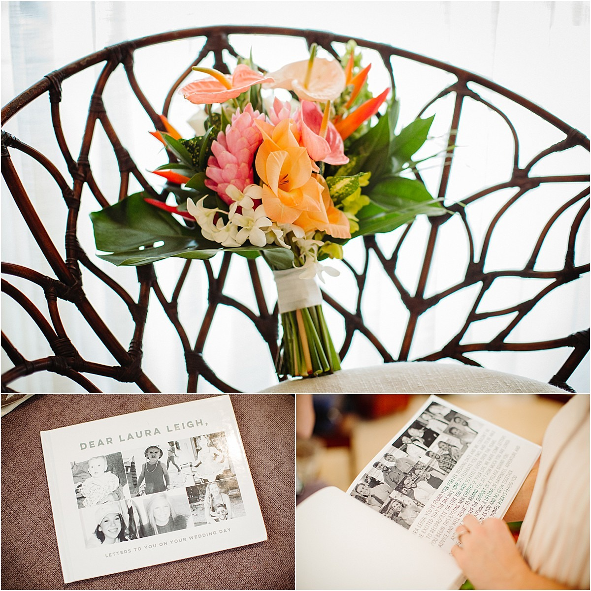 custom wedding book and florals tropical