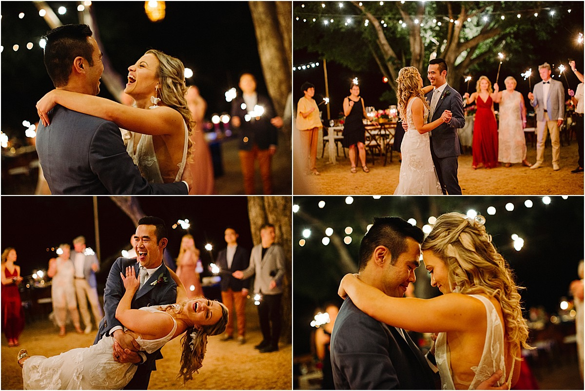 first dance with happy bride and groom