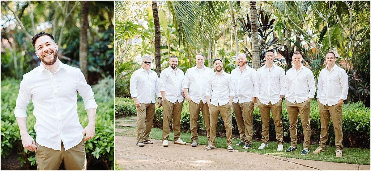 groomsmen and groom in white button ups