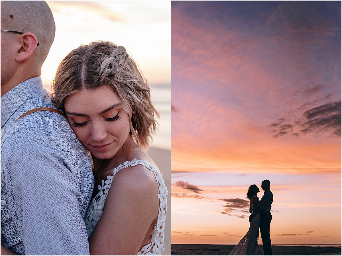 sunset-bride-laying-her-head-on-her-husband