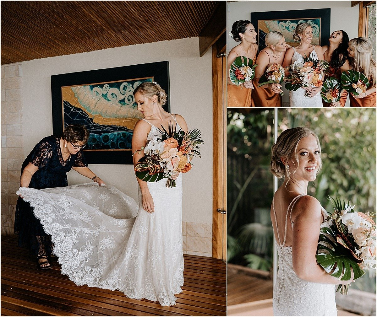 bride and ehr mom with lace gown in villa