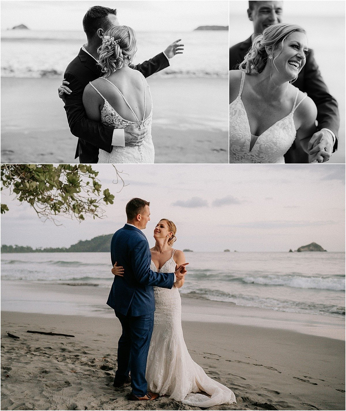 couple daning on the beach by the villa