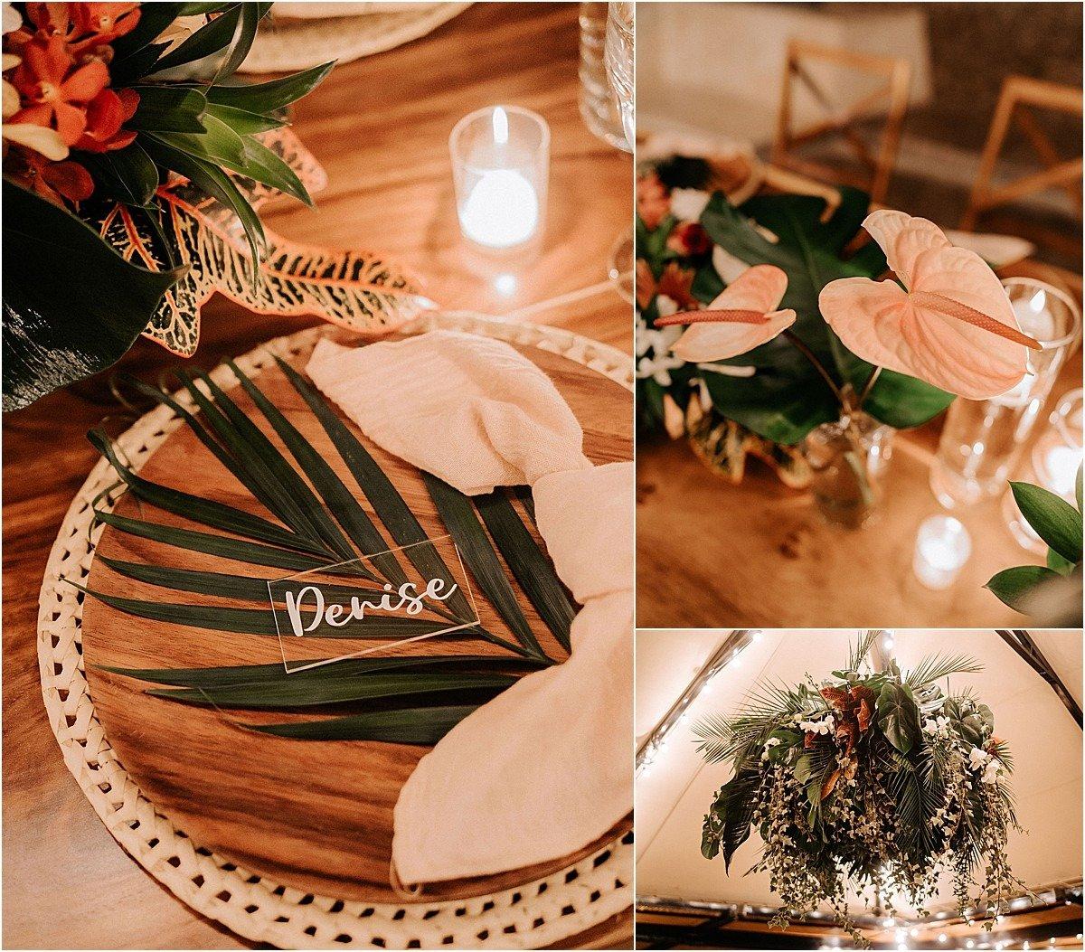 decor palm leaf table ideas name tag
