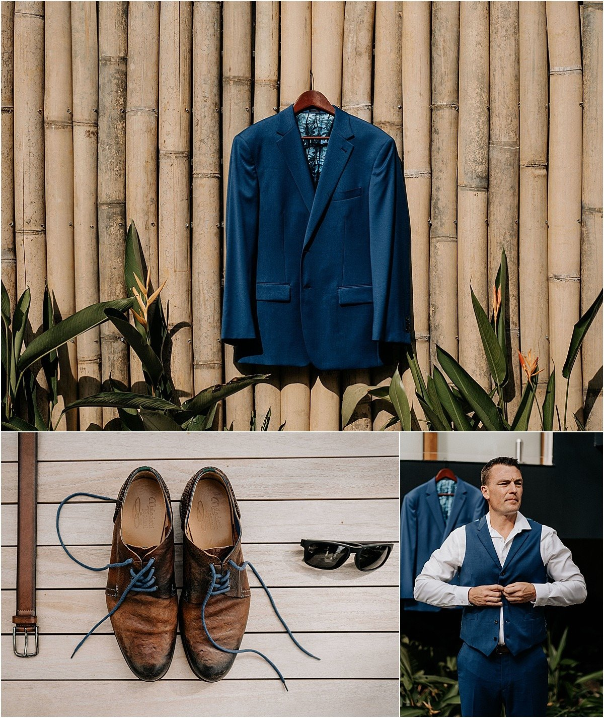 grooms blue suit and shoes with vest