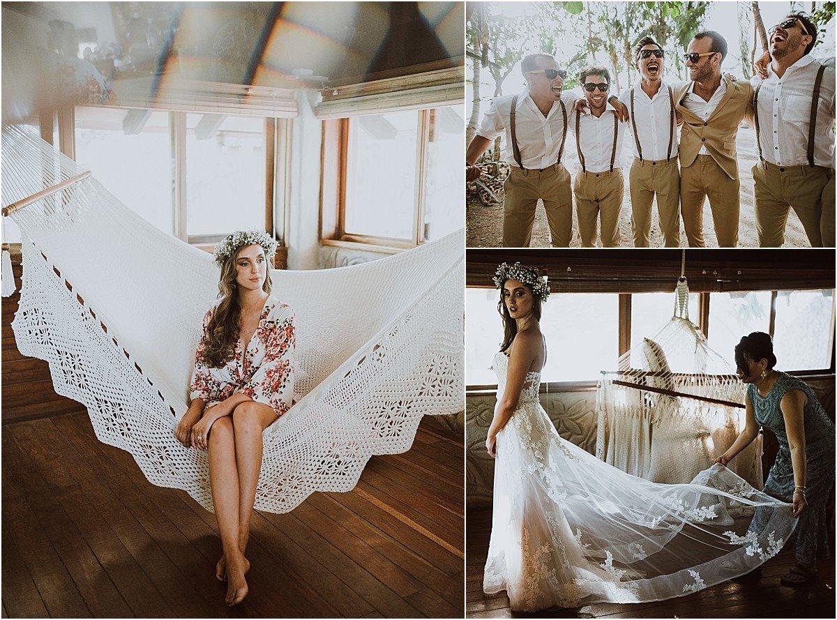 morning wedding gown in hammock
