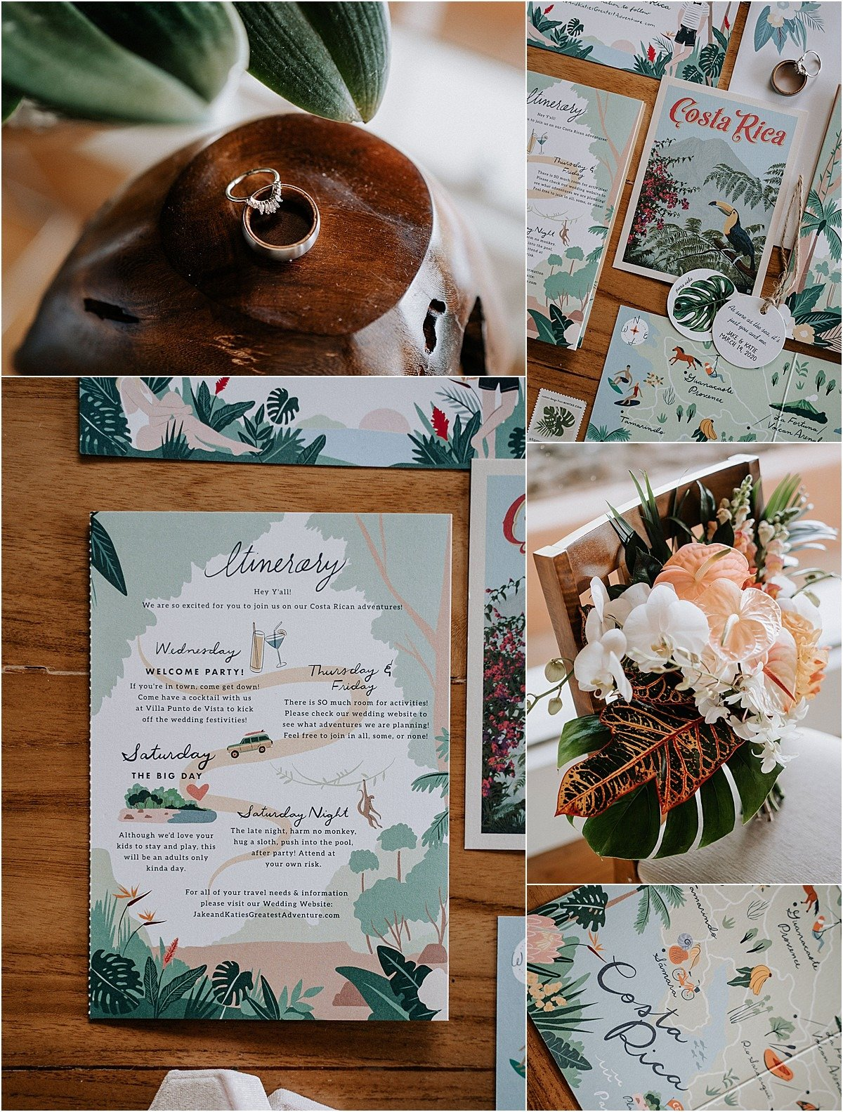 tropical stationary for destination wedding itenery
