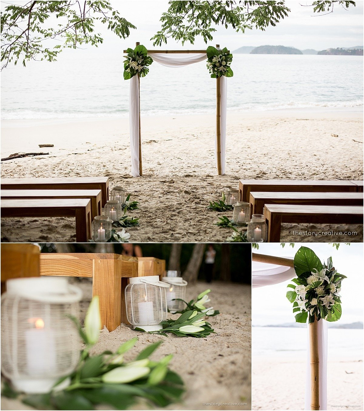 ceremony asile decor green white simple