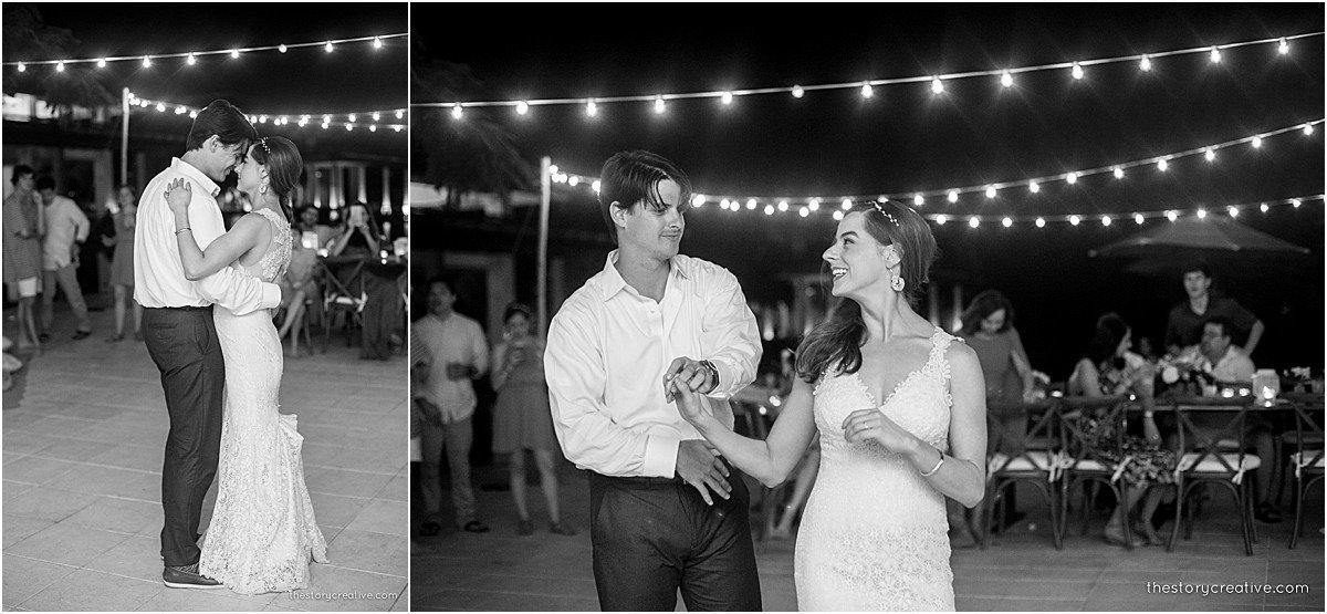 dancing at night string lights black white