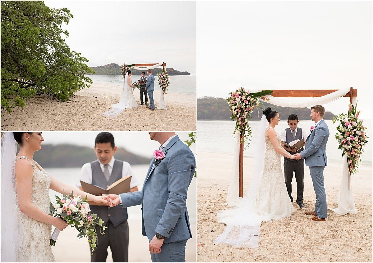 elopement ceremony on the beach of conchal