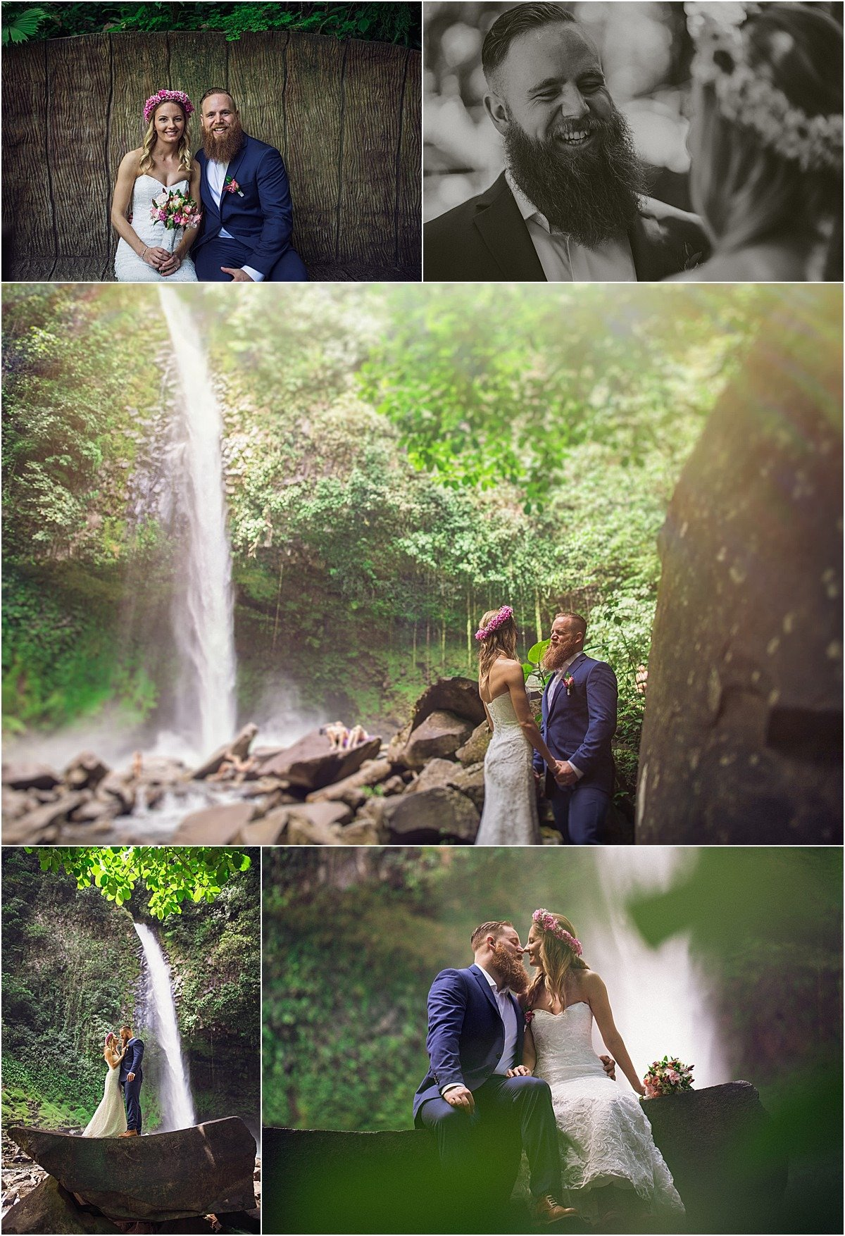 waterfall elopement in a national park of Costa Rica