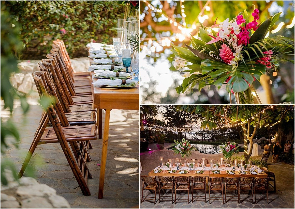 bamboo chairs and wood tables in Costa Rica